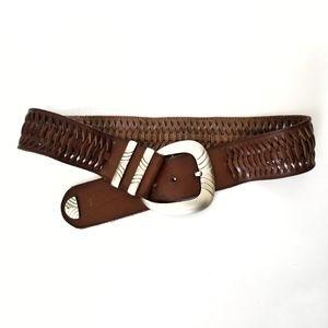Brown Basket Weave Wide Leather Belt M/L